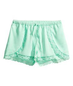 Satin shortswith lace trim. #HMPastels