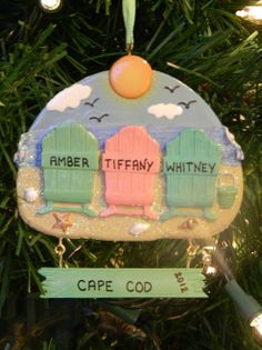 Personalized ornaments - names on the beach chairs and your favorite vacation spot on the bottom, perfect!  Can be personalized with 2, 3, 4 or 5 beach chairs