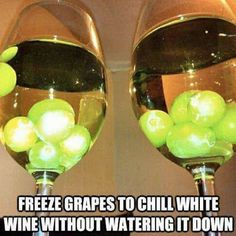 Chill white wine with frozen grapes!