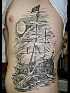 Different types of pirate ships tattoos ~