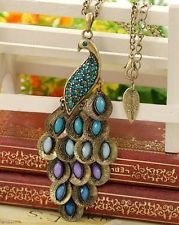 Anthropologie Like Bronze Blue Crystal Peacock Necklace