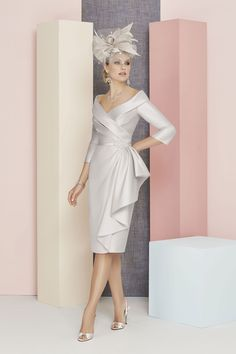 Ronald+Joyce+Silver+Dress+and++3/4+Sleeve+(991310)