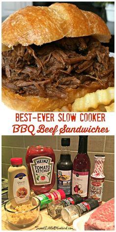 Grill Sandwich, Bbq Beef Sandwiches, Slow Cooker Bbq Beef, Crock Pot Slow Cooker, Bbq Beef Crockpot, Beef Meals, Crockpot Potluck, Slower Cooker Recipes, Crock Pot Beef