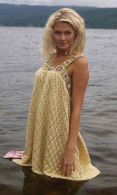 Peeing in a lake? Don't want anyone to know?    This is the poncho for you; this stylish sundress will keep you covered while in the water, and that lovely colour will hide stains once you get out. See how satisfied the model looks? Crochet it now.