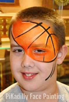 Basketball Design from PiKadilly Face Painting. Face Painting For Boys, Face Painting Designs, Body Painting, Football Face Paint, Face Images, Boy Face, Fantasy Makeup, African Beauty, Face Art