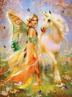 DIY Diamond Painting Kits Dream Beautiful Fairy and Unicorn Unicorn And Fairies, Unicorn Fantasy, Unicorn Art, Angels And Fairies, White Unicorn, Fantasy Fairies, Cartoon Unicorn, Unicorn Pictures, Fairy Pictures