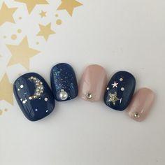 茄子紺×シャンパンピンク☆ギャラクシーネイル☆ラメホロシルバー