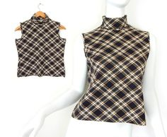 25d1bf37bcfa0 Sz S 90s Plaid Sleeveless Turtleneck Top - Vintage Women s Black and Tan  Stretch Tank Sleeveless