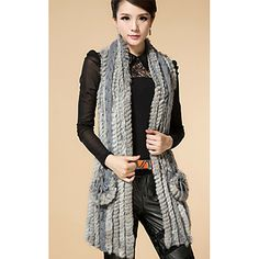 Sleeveless Collarless Rabbit Fur And Wool Party/Casual Vest(More Colors)