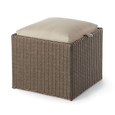 $80 Heatherstone Wicker Reversible Patio Ottoman/Side Table - Threshold™ 848681035320
