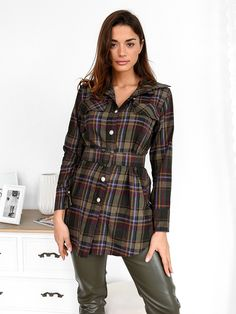 Πουκάμισο Μακρυμάνικο Με Ζώνη Καρό- Seductive Plaid, Coat, Jackets, Shirts, Women, Fashion, Gingham, Down Jackets, Moda