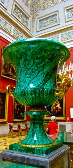 Large Malachite vase in the Large Italian Skylight Room in the Hermitage, St.Petersburg, Russia