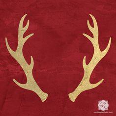 Reindeer Antlers Holiday Craft Stencils - DIY Christmas Decorations | Royal Design Studio