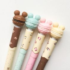 Mickey Mouse Doughnut Gel Pens – Erasable – Blue Ink – Disney Inspired – Dessert Pastry Themed – Cute Kawaii School Supplies - Home School Stationary School, Cute Stationary, School Stationery, Kawaii Stationery, Kawaii Pens, Kawaii Cute, Disney Pens, Mickey Mouse, Mickey Ears