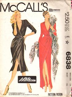 McCalls 6838 1970s Misses Front Wrap DRESS Pattern by Bob Mackie