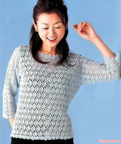 Ажурный пуловер связанный из центра в стороны. Крючок.