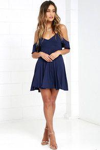 Skater Dress - Backless Dress - Navy Blue Dress - $44.00