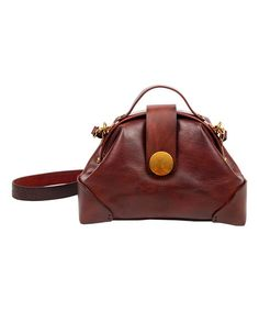 OLD TREND Brown Button-Accent Leather Crossbody Bag | zulily
