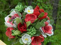 French Beaded Flower Bouquet Arrangement by BeadedFleur on Etsy