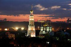 Rússia Moscovo Templos Noite Revérbero Novodevichy convent Cidades