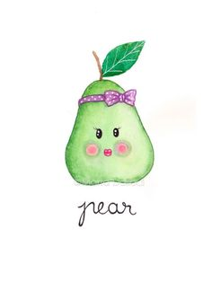 Pear art print. Fruit watercolor painting. Cute pear illustration. Whimsical…