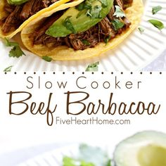 Slow Cooker Beef Barbacoa is flavored with smoked chipotles in adobo, fresh garlic and cilantro, and Mexican spices, resulting in a tender, juicy filling for tacos, burritos, and quesadillas, or a tasty topping for salads and rice bowls!