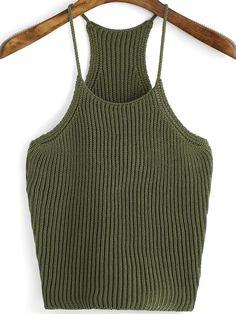 Army+Green+Spaghetti+Strap+Knit+Cami+Top+11.90