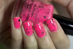 Shattered Heart Neon Pink Nail Polish by KBShimmer
