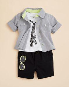 Miniclasix Infant Boys' Button Down Shirt, Tee & Shorts Set - Sizes 3-9 Months