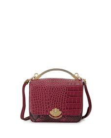 Cynthia Rowley Gemma Embossed-Leather Crossbody Bag, Mulberry Crocodile