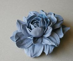 Blue Leather Rose Flower Brooch por leasstudio en Etsy
