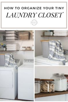 How to Organize A Laundry Closet - this is a really affordable room makeover. Existing wire shelving + wood shelves + inexpensive accessories make a fresh and organized space totally attainable.