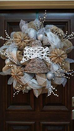 Items similar to Christmas Angel Burlap Wreath, Christmas Wreath, Silver Wreath on Etsy Silver Christmas Decorations, Burlap Christmas, Christmas Angels, Christmas Ornaments, Etsy Christmas, Christmas Poinsettia, Crochet Christmas, Wreath Crafts, Diy Wreath