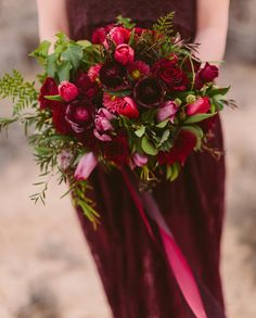 Marsala-inspired bridal bouquet designed by City Blossoms