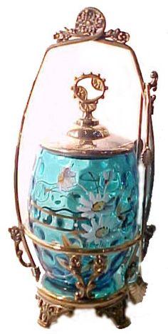 Blue Thumbprint Glass Pickle Castor w/ Enameled Flowers  myantiquemall.com