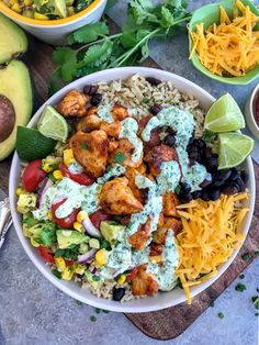 This Easy Chicken Taco Bowls recipe will knock your socks off with tender, juicy chicken, avocado corn salsa, and an incredible cilantro lime sauce! You won't believe you're eating healthy! Mexican Food Recipes, Dinner Recipes, Healthy Recipes, Healthy Meals, Taco Bowls, Taco Chicken Bowls, Healthy Chicken Tacos, Lime Chicken, Chicken Bacon