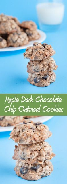 Maple Dark Chocolate Chip Oatmeal Cookies Best Recipes Around- Group Board! Oatmeal Chocolate Chip Cookie Recipe, Oatmeal Cookie Recipes, Oatmeal Chocolate Chip Cookies, Dark Chocolate Chips, Super Cookies, Fun Cookies, Christmas Sugar Cookies, Sugar Cookies Recipe, Delicious Desserts