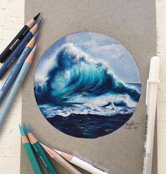 Cool Art Drawings, Pencil Art Drawings, Realistic Drawings, Colorful Drawings, Art Drawings Sketches, Wave Art, Ocean Wave Drawing, Color Pencil Art, Art Sketchbook