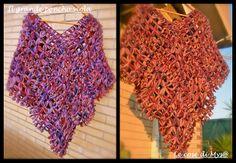 Il Grande poncho viola Loom Craft, Loom Weaving, Lana, Loom Knitting, Butterfly, Crochet, Crafts, Hobby, Women