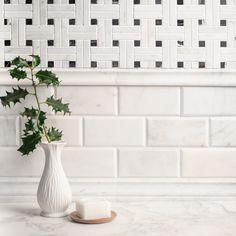 Calacatta Marble, Carrara, Metro Tiles, Stone Tiles, Basket Weaving, Herringbone, Backsplash, Natural Stones, Dining Room