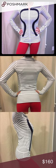 Lululemon quiet stripe stride Size 2. Dot confirmed. 🦄 quiet stripe stride in GUC. Small spot on right hand area. Barely noticeable. Slight stickiness. Still in great condition. White and navy blue stripes. Rare jacket. No rude comments please. lululemon athletica Jackets & Coats