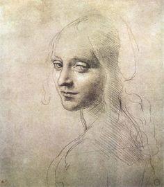 risunok Рисунок к картине «Мадонна в скалах». Леонардо да Винчи, карандаш, 1483