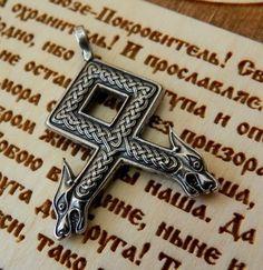 """Odal (Othala) Rune--symbolizes heritage, ancestry."" I love the heads on this!"