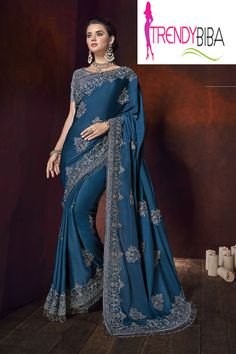 Be ethnic and look appealing in Blue satin embroidered saree. The heavy embroidery border on the sarees gives an ethnic look to the person who wears it Sri Lankan Wedding Saree, Saree Wedding, Bridal Sarees, Wedding Dress, Indian Dresses, Indian Outfits, Engagement Saree, Wedding Saree Blouse Designs, Indian Clothes Online