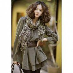 $11.11 Casual Style Scoop Neck Solid Color Double Flouncing Hem Cotton Blend Dress For Women