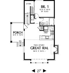 Traditional Style House Plan - 1 Beds 1 Baths 981 Sq/Ft Plan #48-302 Floor Plan - Main Floor Plan - Houseplans.com