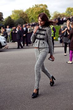all-over tweed. and the detailing on that jacket=to die for