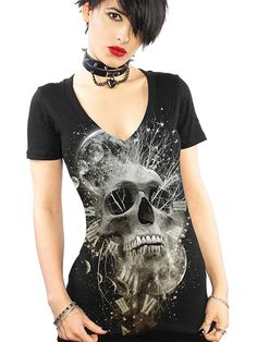 """Women's+""""Thoughtless""""+V+Neck+Tee+by+Skygraphx+(Black)"""