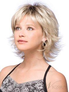 Sweet Shoulder Length Flip Platinum Lace Front Wig For A Sweetheart: wigsbuy.com