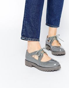 London Rebel Willow Cut Out Lace Up Flat Shoes